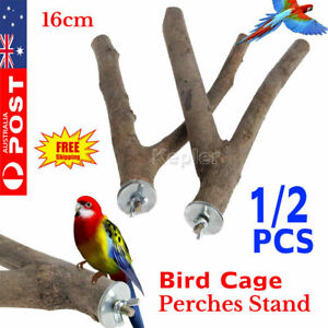 1 or 2pc Wood Parrot Bird Stand Tree Branch Hanging Toys Cage Perches Pet Budgie