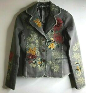 Paparazzi by Biz Size Small Gray Blazer Floral Heavily Embroidered Jacket Lined