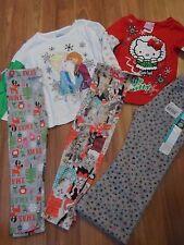 girls holiday 2 tops t-shirts  & 3 leggings fleece pant  4T + free gift