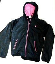 Breast Cancer Black Pink Ribbon Full Zip Running Jacket XL Pre-Owned