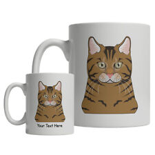 Savannah Cat Cartoon Mug - Personalized Text Coffee Tea Cup