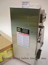 Square D Stainless H321DS 30a 240v 3ph Fused Safety Switch 7 Available NEW