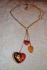 THUN collana cuore rosso, smalto placcato oro e quarzo naturale,senza scatola