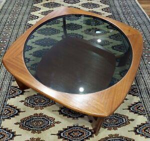 Vintage retro 70s circular original smoked glass top coffee table