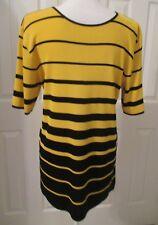 Exclusive Misook Top Short Sleeve S/M Gold Yellow & Black