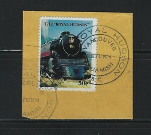 CANADA - ROYAL HUDSON RAILWAY USED POSTER STAMP ON PIECE WITH NICE CANCEL