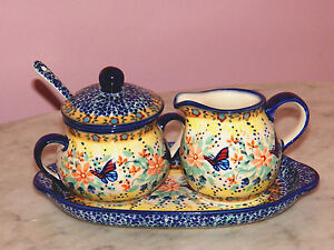 Polish Pottery Cream And Sugar 4 PC Set! UNIKAT Signature Butterfly Summer!