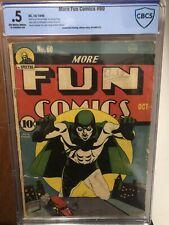 More Fun Comics 60 CBCS .5 1940 Bernard Baily Spectre OW/W PR No Centerfold CGC