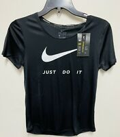NIKE  DRI-FIT WOMEN'S RUNNING T-SHIRT BLACK Lightweight, Sweat-wicking-