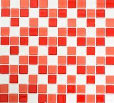 Mosaïque carreau translucide verre blanc rouge toilette 62-0904_f | 10 plaques