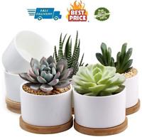ZOUTOG Succulent Pots, White Mini 3.15 inch Ceramic Flower Planter Pot with of