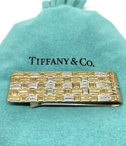 TIFFANY & CO. Sterling Silver & 18k Weave Money Clip