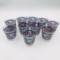Ten (10) Pepsi Cola Tiffany Style Stained Low Ball Slanted Glasses Red Blue