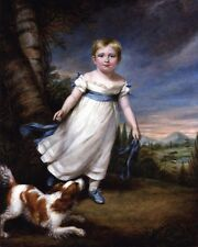 YOUNG BOY OF 1800'S VICTORIAN ERA IN WHITE FROCK PAINTING ART REAL CANVAS PRINT