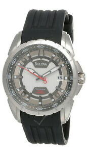 New Bulova Precisionist Silver Dial Rubber Strap Men's Watch 96B171