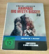 """RAMPAGE-BIG MEETS BIGGER"" LIMITED STEELBOOK EDITION 2-BLU-RAYs SET 3D NEU & OVP"