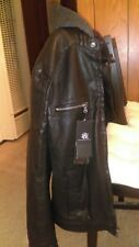 Men's ROCK & REPUBLIC Biker Jacket LEATHER Removable Hood size S