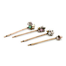 Fashion New Sparkly Opal Crystal Floral Hair Pin 4pcs one set Women Hair Jewelry