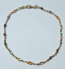Filled 10 inches Long # 43 Ankle Bracelet with Multi-Colored Stones Gold