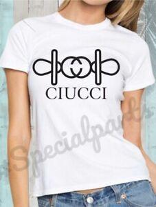 T-shirt Donna Manica Corta Cotone Divertente Ciucci Gucci Parodia Ironia