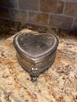 Vintage SILVER TONE Heart Shape Lion Head Footed JEWELRY TRINKET BOX