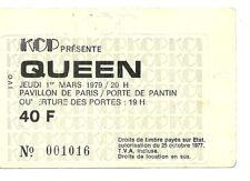 RARE / TICKET CONCERT - QUEEN : FREDDIE MERCURY - LIVE A PARIS ( FRANCE ) 1979