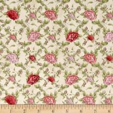 La Vie En Rose Trellis Cream Floral 100% cotton fabric by the yard