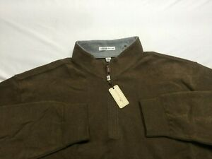 PETER MILLAR Brown Cotton Blend 1/4 Zip Pullover Sweater XL NWT