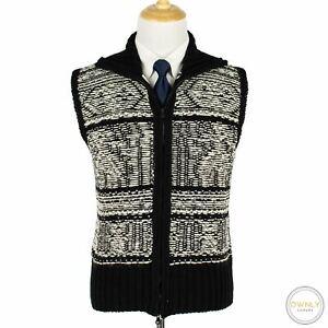 Brooks Brothers Black Fleece Black White Wool Intarsia Ireland Sweater Vest L