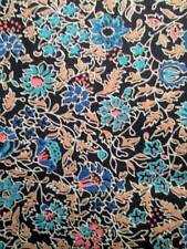 Vintage Fabric Cotton Black Background Blue Aqua Pink Blush Floral 45x92
