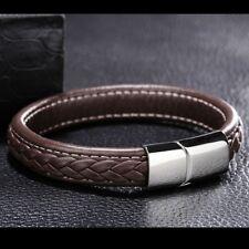 Mode Echtes Leder Männer Armband Punk Titan Stahl Armband Armreifen Braun #KE02