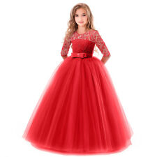 Wedding Party Flower Girl Lace Dress Princess Costume Pageant Ball Gown for Kid