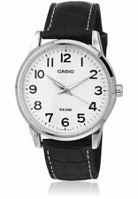 Casio Men's Analogue Watch With Leather Strap, Black & White
