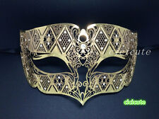 Gold Metal Male Diamond Design Laser Cut Venetian Masquerade Filigree Mask NEW