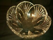 Large Wedgwood Crystal Scalloped Bowl Etched Signed + Original Label 6 pounds !