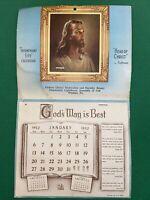 Vtg 50's 1952 Jesus Calendar Christian Church Advertising Religious Small