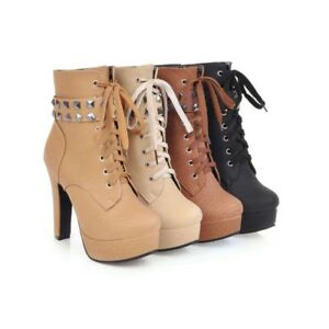 Ladies Shoes Rivets Platform High Heels Zipper Lace Up Ankle Boots US Size b161