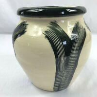 "Studio Art Pottery Ivory And Black Art Deco Style Vase Signed Mecagni 7 1/4"""