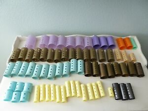 🔥 72 Vintage Plastic Hair Curlers Rollers Barrell Style Roll Mix Sizes