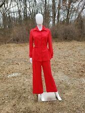 Vintage 1970s women Orange pointy collar jacket & pants suit fits M/L