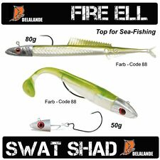DELALANDE Fire Eel / Sandaal + SWAT SHAD fertig montiert Top Meeresköder