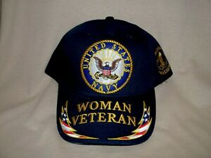Woman Navy, (Waves), Veteran Ballcap with Flags on the Bill.  100% Cotton
