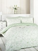 Birds Paris Floral Bedding Set Green Reversible Duvet Cover and Pillow Cases