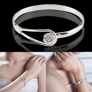 925 Sterling Silver Flower Bangle Bracelet Womens Charm Jewellery Love Gift Box