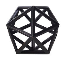 "Icosahedron Black 3D Geometric Water Figurine Model 9"" Wooden Polyhedron Decor"
