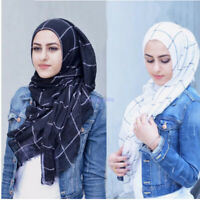 Muslim Women Cotton linen Scarf Plaid Striped Hijab Wrap HeadScarf Shawl Scarf