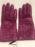 NWT Coach Leather and Cashmere Berry Logo Gloves. MFSRP $128