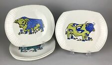 CARTWRIGHTS STAFFORDSHIRE -BEEFEATER- 5x BULL STEAK GRILL IRONSTONE DINNER PLATE