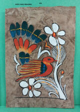 VINTAGE AMATE BARK PAPER PAINTING 5.50 x 3.75 INC COLOR on BROWN FROM MEXICO #36