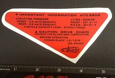 DUNLOP CHAIN WARNING DECALS GRAPHIC STICKER FITS HONDA 1985 ATC 250R FENDER